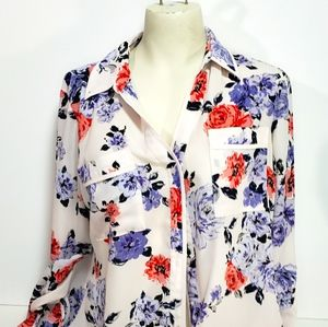 Candie's Floral Button Up 3/4 Sleeves Blouse…